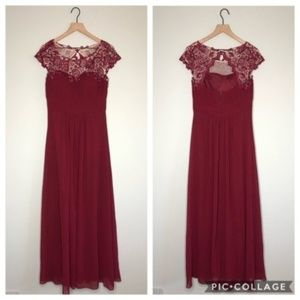 Dresses & Skirts - Maroon Lace Floor Length Bridesmaid Dress